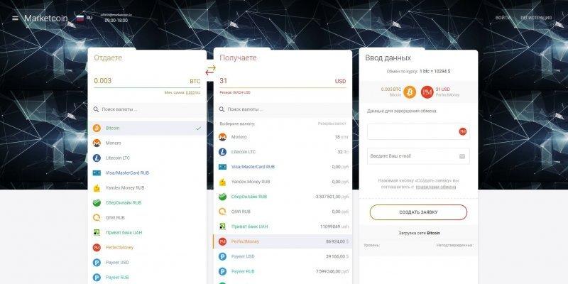 Marketcoin - выгодный криптовалютный обменник